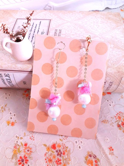 Japan cotton pearl hand-twisted wool drape earrings * blueberry bubble D140 gift forest dream sweet girl heart Valentine's Day gift