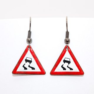 Car, Car Earrings, Road Sign, Traffic Sign, Enamel Earrings, Enamel Jewelry,