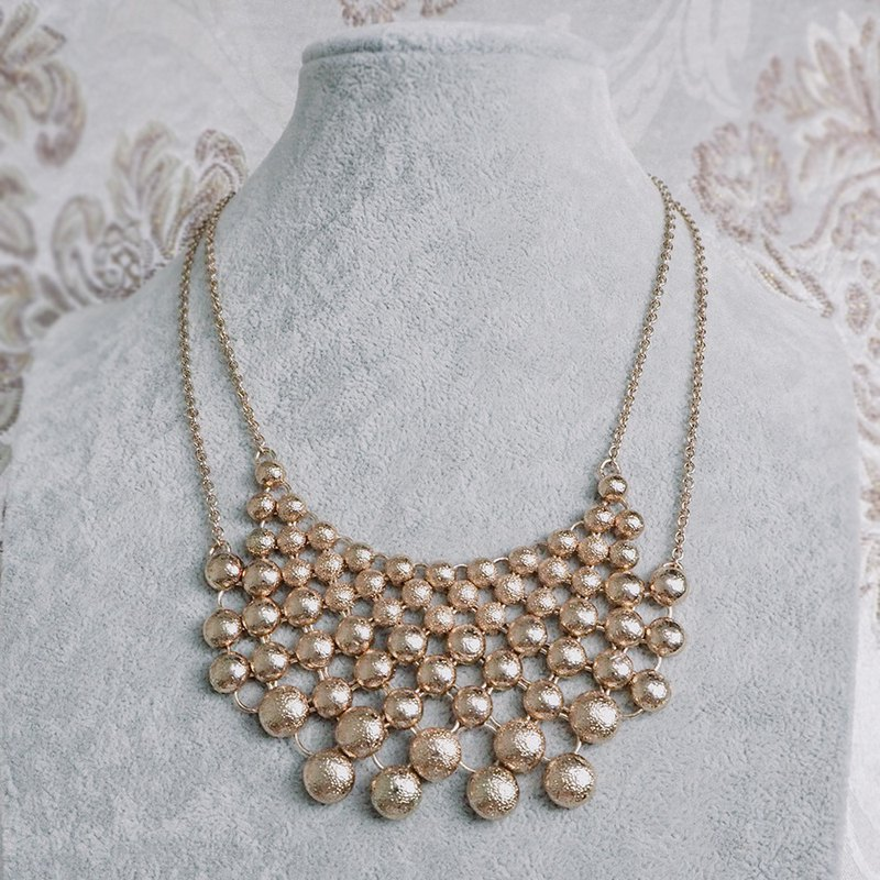 Matte Gold Beaded Antique Necklace BMA116
