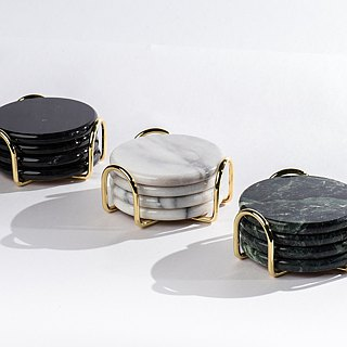 Marble coaster and coaster set