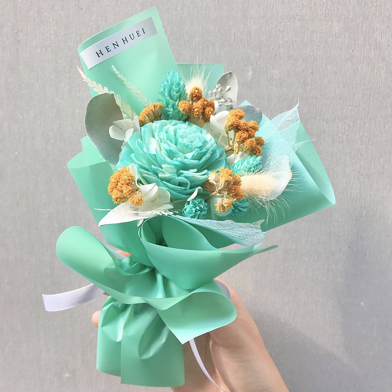 Tiffany green bouquet - dry flowers, small bouquets, exchange gifts, Valentine's Day gifts