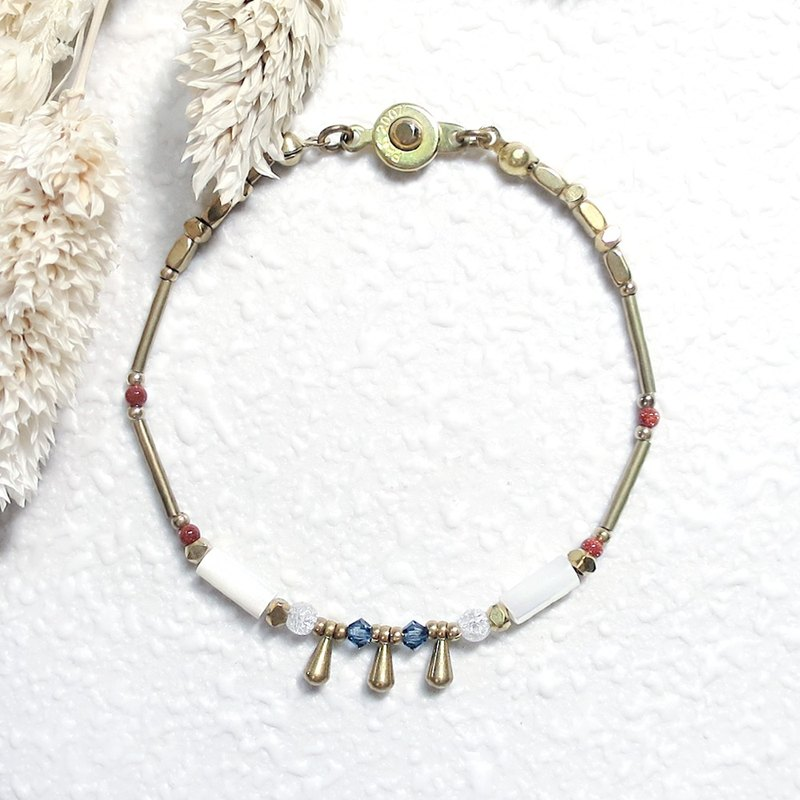 VIIART. Years of solar terms - frost. Shell Antique Bead Brass Bracelet