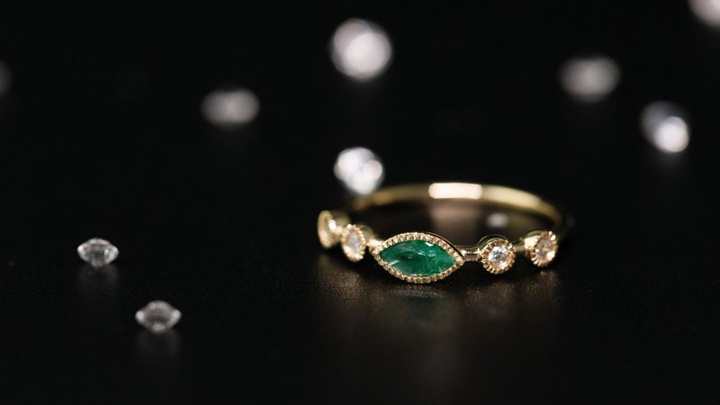 【PurpleMay Jewellery】18K SOLID GOLD VINTAGE MARQUISE EMERALD RING - R061