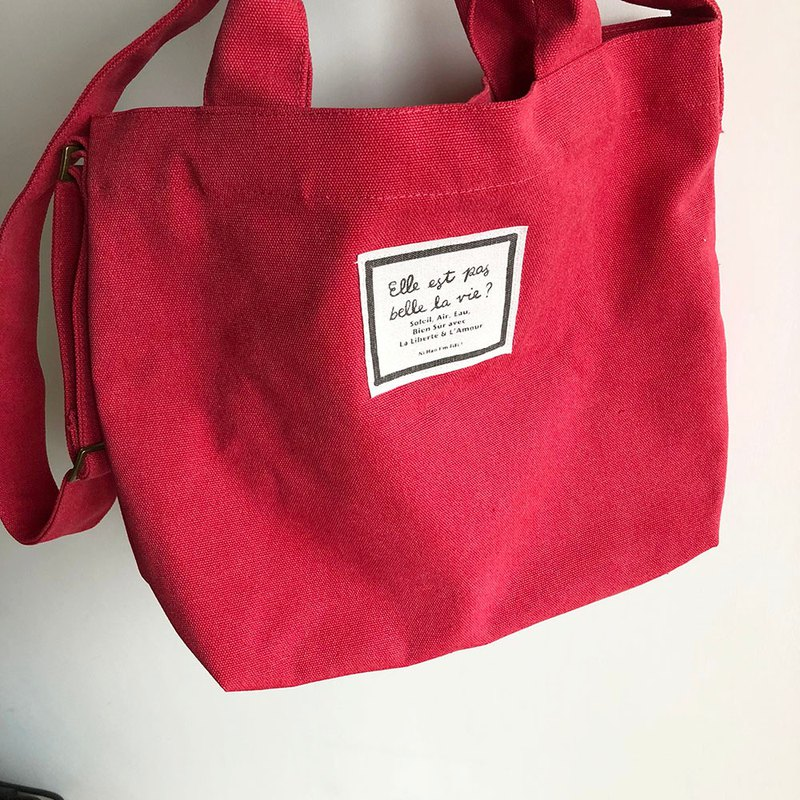 FIFI life is beautiful canvas bag | slanted back / hand-washed red
