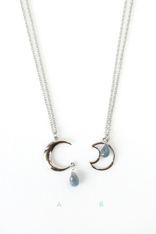 Crescent moon with blue sapphire gemstone necklace september crescent moon with blue sapphire gemstone necklace september birthstone jewelry aloadofball Images