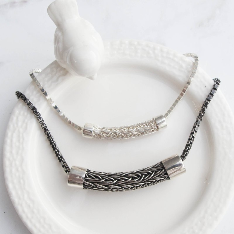 Big staff Taipa [handmade silver] braided tube sterling silver bracelet - couple bracelet