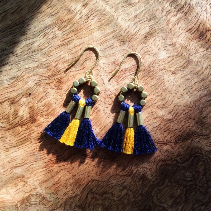 Earth fairy L'IMMORTEL tassel two-tone brass earrings Dolly/ve191