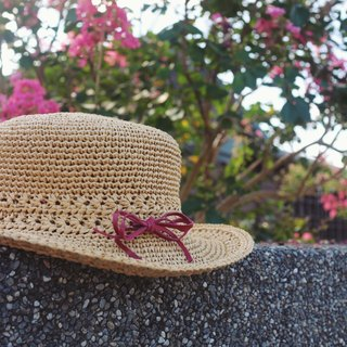 Handmade - Forest Department Red Butterfly Hat - Hand Braided Sun Hat - Hand Knitting - Travel / Birthday Gift / Couple Hat