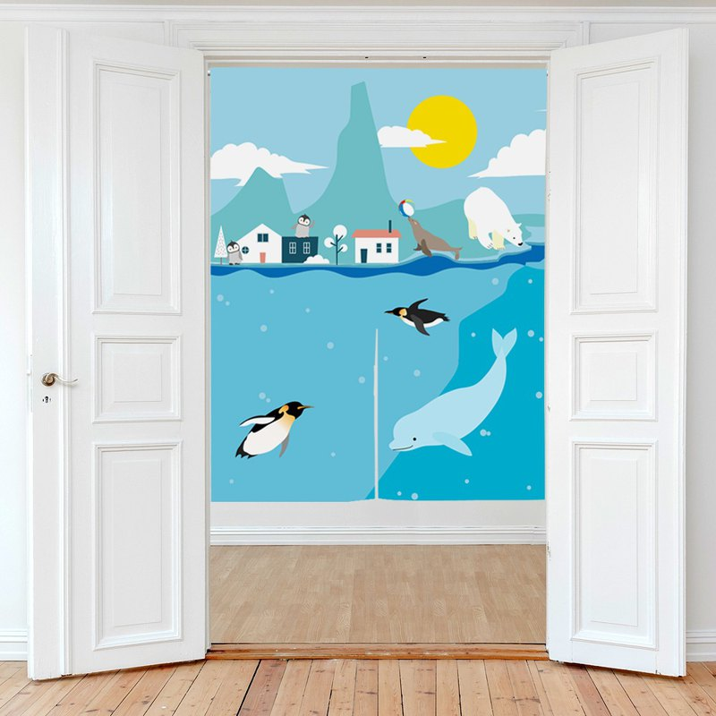 Cotton curtain curtain penguin polar bear