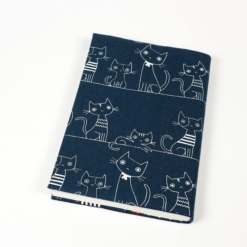 A5 cloth book cover mother book cloth book cover book - line cat (blue)