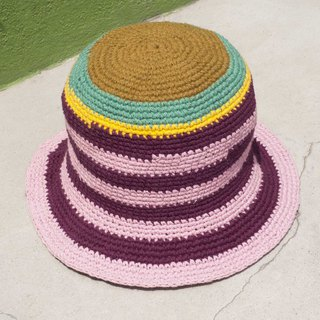 Chinese Valentine's Day gift limited a piece of land forest wind stitching hand-woven cotton hat / fisherman hat / sun visor / Patch Hat / handmade hat / hand crocheted hat / hand-woven-original summer Lamb grape stripe cotton hat