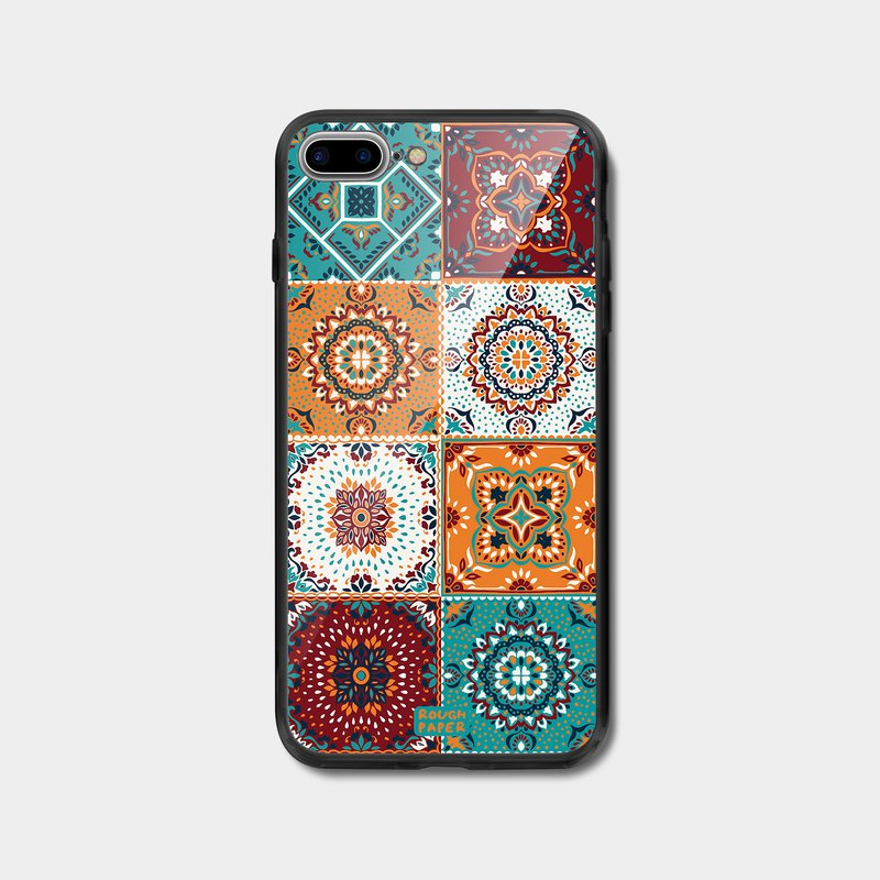 Vintage ceramic floor tile pattern | tempered glass case | mobile phone case