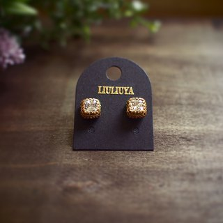 [firm] brass cubic zircon earrings