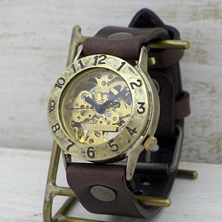 Handmade watches HandCraftWatch handwrap Brass JUMBO Handwinding brass [BHW 058 GD / BR]
