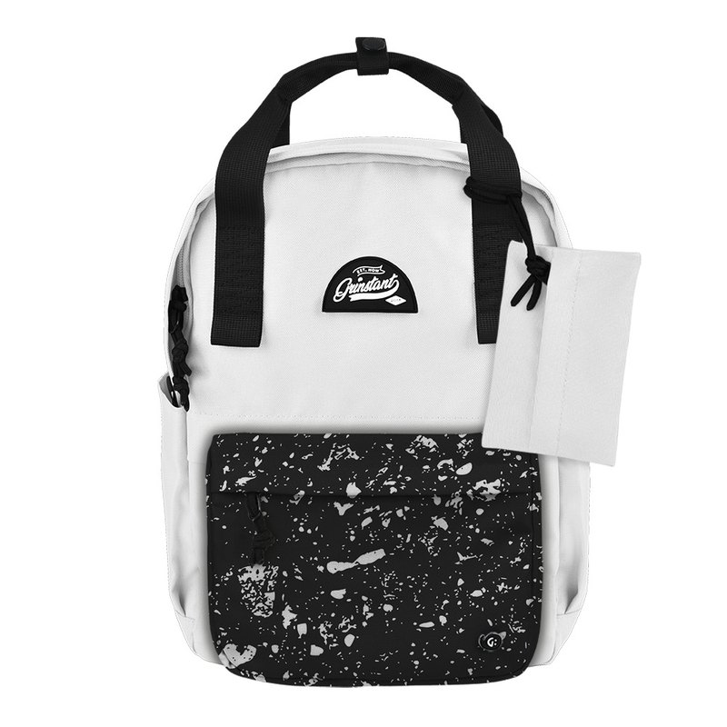 Grinstant mix and match detachable group 13 吋 backpack - black and white series (white with gray spray paint)
