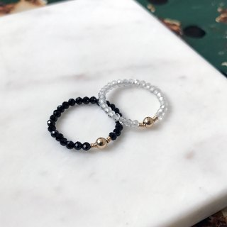 "[Ring] Quartz (white) or black spinel (black) + 14KGF simple ring ""Black & White"" / Black & WhiteR01"