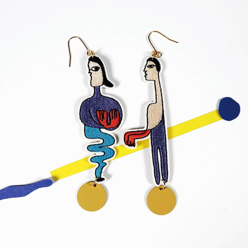 Morning Walk - Embroidered Earrings