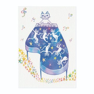 "Okabe Tetsuro Cat Postcard ""Music Night"""