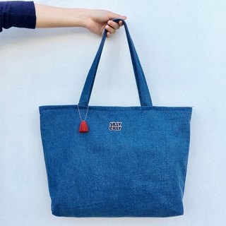 Simple denim denim large-capacity shoulder bag A4 double-layer cloth bag zipper large capacity
