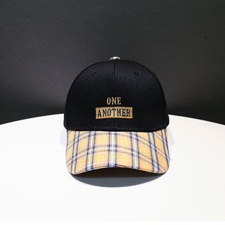 Vintage Plaid Colorblock Cap:: Vintage Yellow::