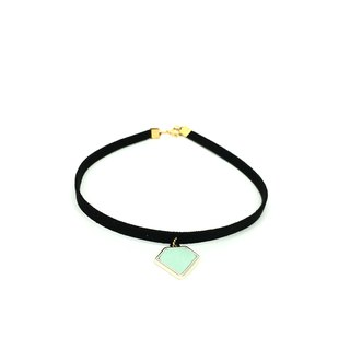Mint green diamond necklace