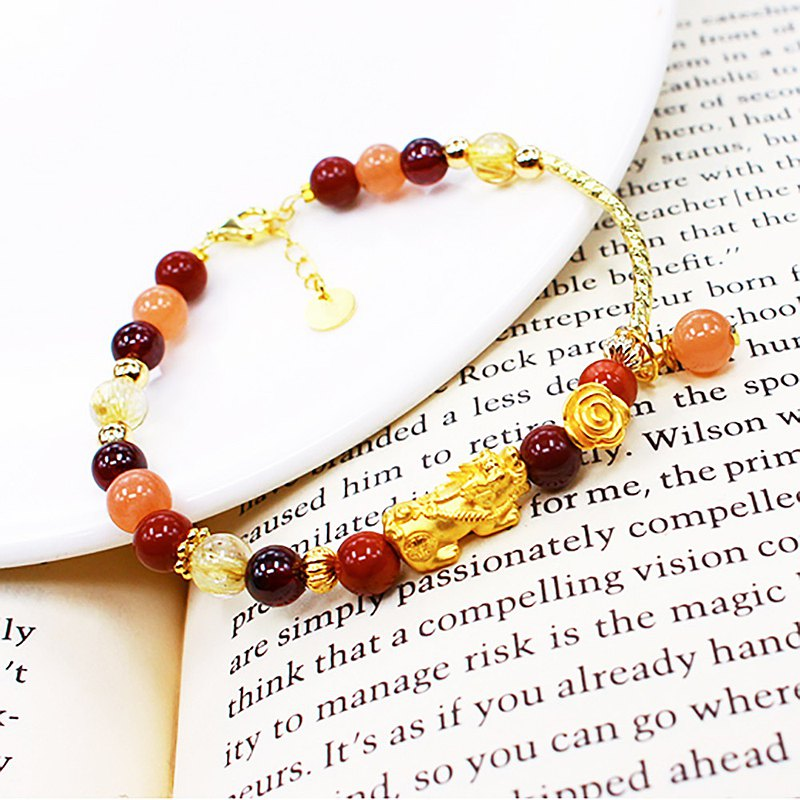 9999 Gold:: Comes with a gold guarantee/sunstone/alxa/pomegranate/gold titanium crystal brave flower bracelet