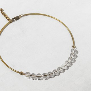 Transparent crystal bead brass adjustable collar