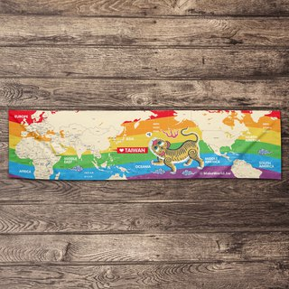 Make World map manufacturing sports towel (Rainbow Tiger)