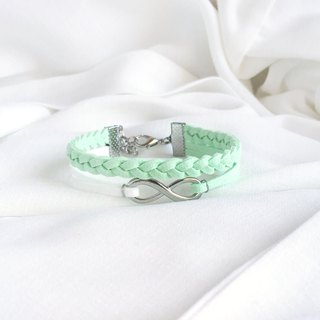 Handmade Double Braided Infinity Bracelets –light mint green limited