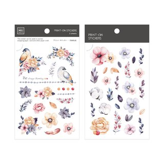 [Print-On Stickers] | Flower Series 40-Moonlight Colors | Pocket, DIY Friends