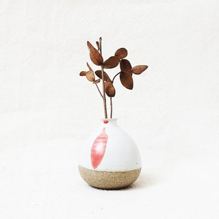 Handmade Ceramic Mini Vase - A Pinch Of Red