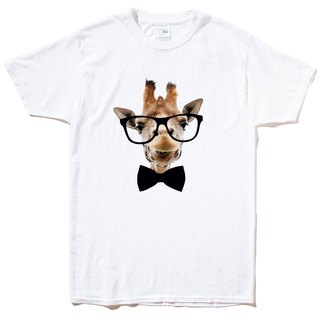 Giraffe Bow Tie Men's Short Sleeve T-shirt White Giraffe Tie Glasses Mustaches Animal Bunny Art Design Trendy Text Fashion