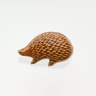 ceramics brooch hedgehog(light brown)