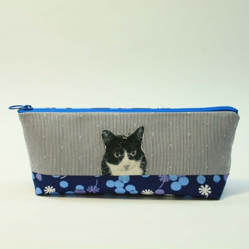 Embroidery Pencil Bag 20 - Black and White Cat