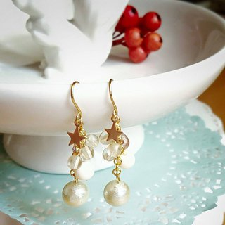 Starry Pieces Cotton Pearl Earrings- natural white