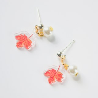 Nature Series - Honey Maple Earrings / Ear hanging pearl earrings