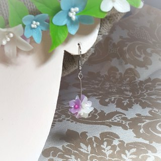 Purple white flower ball earrings / ear hook / ear clip