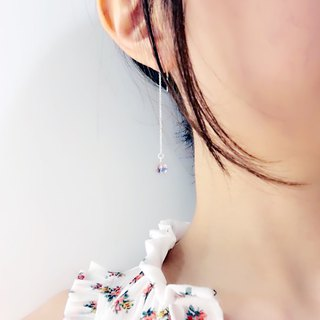 Powder crystal blue flower small flower ear chain S925 sterling silver earrings anti-allergy