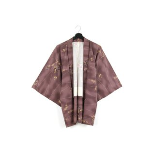 Back to Green-Japan with Hui Yu Weaving Beans Purple Maple Leaf / vintage kimono