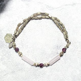 ♦ VIIART ♦ Red Moon ♦ Powdery Garnet Brass Bracelet