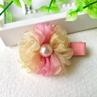 Magic color pearl yarn small flower bangs hairpin / orange