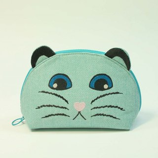 Embroidery Shell Cosmetic Bag 03-Cat Head