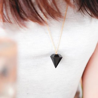 Black wooden crystal Necklace