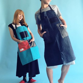 Industrial wind work clothes bib pocket apron (washed blue)