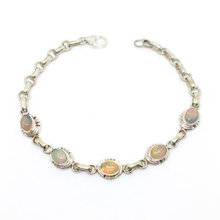 Opal Opal 925 sterling silver simple trim bracelet Nepal handmade mosaic production