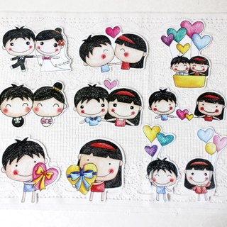 Waterproof sticker set (large)_boys and girls series (set of 10)