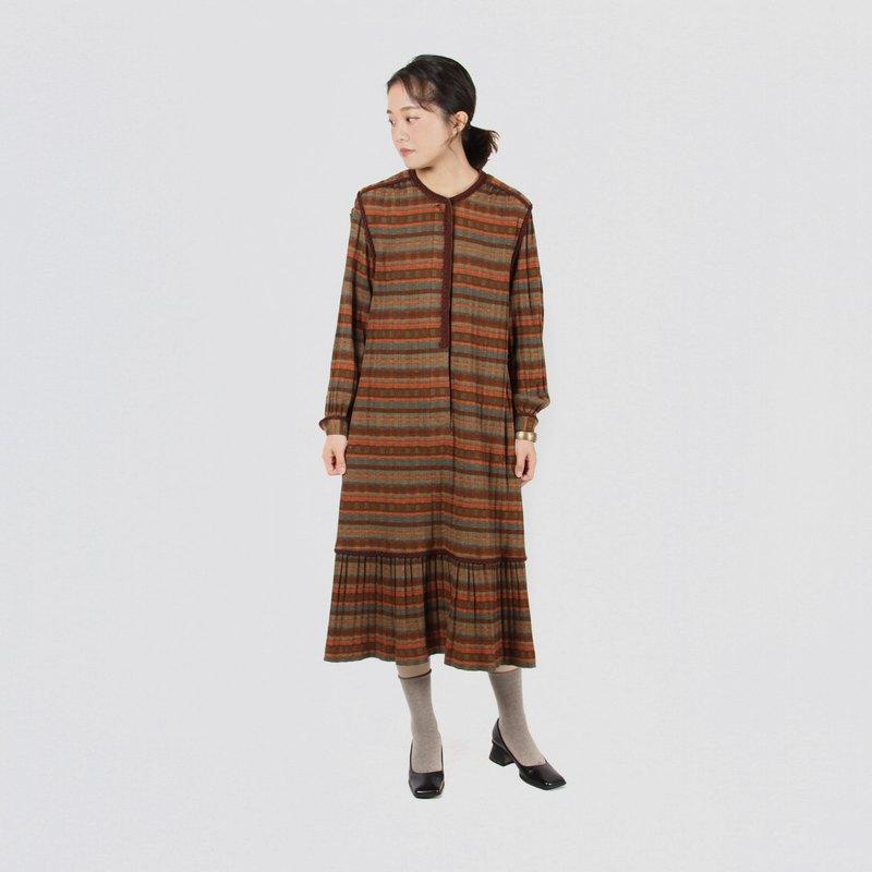 【蛋植物古着】秋楓山嶼長袖針織古著洋裝
