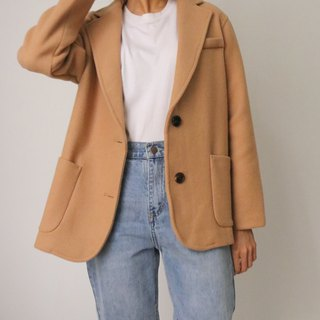 Wafer Wool Blazer (milk camel minimalist wool suit jacket) can be customized other colors