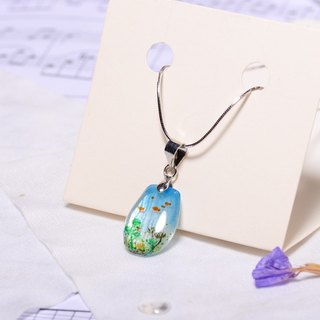 A drop of water Meng Meng pure hand-painted color drawing hot-drawn tablets, 925 sterling silver plated snake chain, creative hand, custom