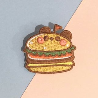 Dog clip star / original embroidery pins / hamburger panda